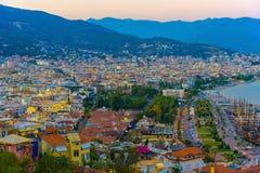 Vista della città e della linea costiera di Alanya Fotografia Stock Libera da Diritti