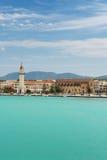 Vista della città e della porta dal mare, Grecia. Immagini Stock Libere da Diritti