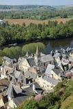 Vista della città e fiume Vienne Chinon france Immagini Stock Libere da Diritti