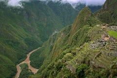 Vista della città inca persa di Machu Picchu Immagini Stock Libere da Diritti