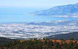 Vista della città Kumluca, Turchia Immagine Stock
