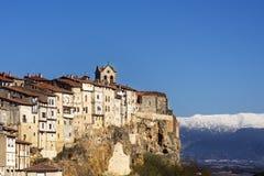 Vista della città medievale di Frias, Burgos, Castiglia, Spagna. Immagine Stock