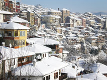 Vista della città in neve Fotografie Stock Libere da Diritti