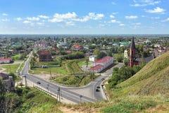 Vista della città più bassa di Tobol'sk, Russia Fotografia Stock