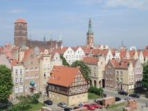 Vista della città principale, Danzica, Polonia Fotografia Stock Libera da Diritti