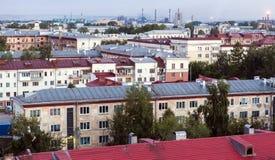 Vista della città, vecchio tetto fotografie stock libere da diritti