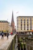 Vista della città di Amburgo, Germania Fotografia Stock