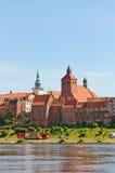 Vista della città di Grudziadz, Polonia Fotografia Stock Libera da Diritti