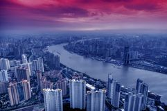 Vista della città moderna Schang-Hai Fotografie Stock