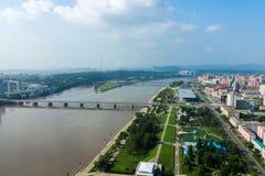 Vista della città Pyongyang Fotografie Stock Libere da Diritti