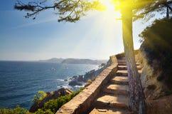 Vista del fondo della natura di vacanza della Spagna della spiaggia Fotografia Stock Libera da Diritti