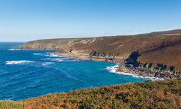 Vista della costa di Cornovaglia dalla testa Inghilterra Regno Unito di Zennor vicino a St Ives Fotografie Stock Libere da Diritti