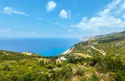 Vista della costa di mare ionico di estate (Kefalonia, Grecia) Fotografia Stock Libera da Diritti