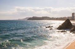 Vista della costa di mare in Lloret de marzo su Costa Brava, Spagna Fotografia Stock