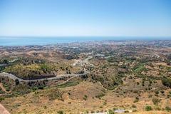 Vista della costa di Mijas dal villaggio di Mijas Fotografie Stock