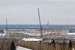 Vista della costruzione di nuovo stadio di football americano per il mondo Fotografie Stock Libere da Diritti