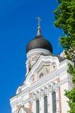 Vista della cupola Alexander Nevsky Cathedral a Tallinn Fotografia Stock Libera da Diritti