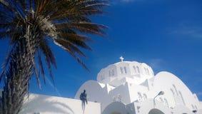 Vista della cupola della cattedrale metropolitana ortodossa della città di Fira in Santorini Con una palma nella priorità alta Immagini Stock