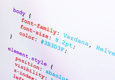 Vista della diagonale del primo piano di codice sorgente di CSS Fotografie Stock