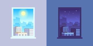 Vista della finestra Concetto di vettore del fumetto di notte e di giorno illustrazione di stock