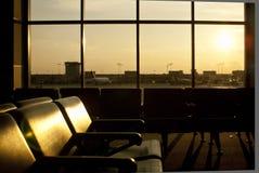 Vista della finestra dell'aeroporto Immagini Stock