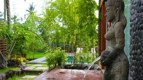 Vista della fontana con la scultura antica e indù in giardino stock footage