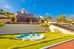 Vista della fontana di La Orotava Jardin Victoria fotografia stock libera da diritti