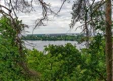 Vista della foresta da un'alta collina sul fiume e sul ponte del ferro Immagine Stock