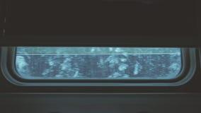 Vista della foresta di inverno dalla finestra di un treno commovente archivi video