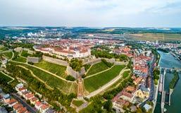 Vista della fortezza di Marienberg a Wurzburg, Germania Fotografia Stock Libera da Diritti