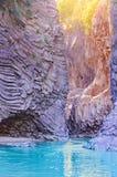 Vista della gola di Alcantara sicily Immagini Stock Libere da Diritti