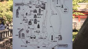 Vista della guida della mappa al tempio buddista di Kiyomizu-Dera archivi video