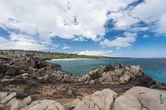 Vista della linea costiera dal punto di Makaluapuna in Maui Hawai Immagini Stock Libere da Diritti