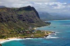 Vista della linea costiera hawaiana Immagini Stock Libere da Diritti