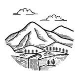 Vista della linea progettazione della montagna di arte illustrazione vettoriale
