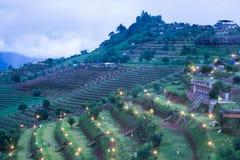 vista della località di soggiorno del paese del paesaggio della montagna Fotografia Stock Libera da Diritti