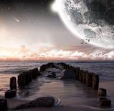 Vista della luna da una bella spiaggia illustrazione vettoriale