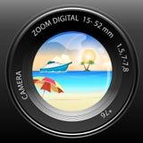 Vista della macchina fotografica della spiaggia Fotografie Stock