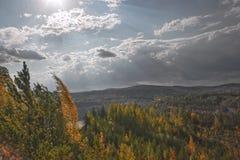 Vista della miniera del minerale di ferro Fotografie Stock Libere da Diritti