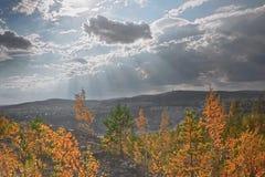 Vista della miniera del minerale di ferro Fotografie Stock