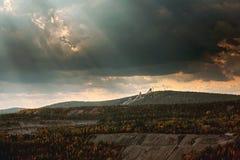 Vista della miniera del minerale di ferro Fotografia Stock Libera da Diritti