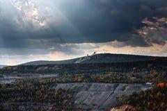 Vista della miniera del minerale di ferro Fotografia Stock