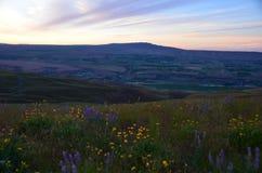 Vista della montagna del crotalo dalle colline di cielo del cavallo Immagini Stock