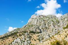 Vista della montagna di Lovchen nel Montenegro Fotografia Stock