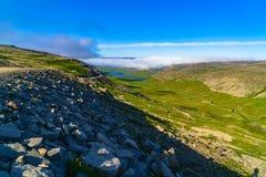 Vista della montagna e della valle Fotografia Stock