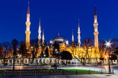 Vista della moschea blu (Sultanahmet Camii) all'ora blu, Costantinopoli, Turchia Fotografia Stock Libera da Diritti