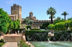 Vista della moschea della cattedrale e di alcazar di Cordova, Spagna Fotografia Stock Libera da Diritti