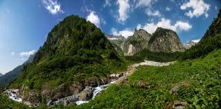Vista della natura, corrente fresca del fiume della montagna che scorre da sotto il g immagini stock libere da diritti