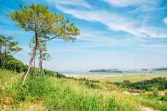 Vista della natura del villaggio della campagna di Daebudo in Corea Fotografia Stock Libera da Diritti