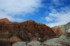 Vista della natura della montagna e del cielo blu Fotografia Stock